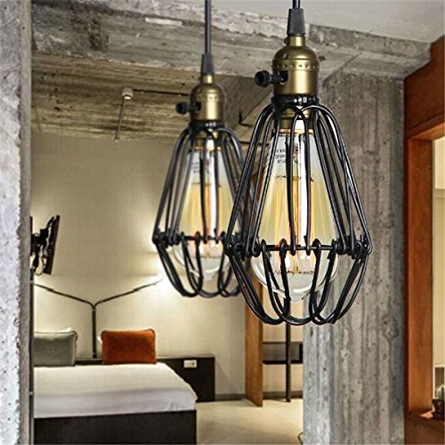 ACHKL Industrial Retro Vintage Kitchen Bar Shop Black Pendant Light Ceiling Hanging Lampshade Fixture