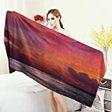 Quick-Dry Towels Balinese Decor Collection Calm Ocean Shoreline on Tropical Sunrise Bali Indonesia Wavy Sunbeams Scenic Wrap Towels 55''x27.5'' Blue Orange