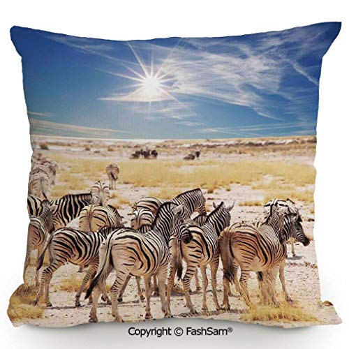 FashSam Home Super Soft Throw Pillow Zebras in Savannah Desert Waterhole on Hot Day Africa Safari Adventure Land Print for Sofa Couch or Bed(16