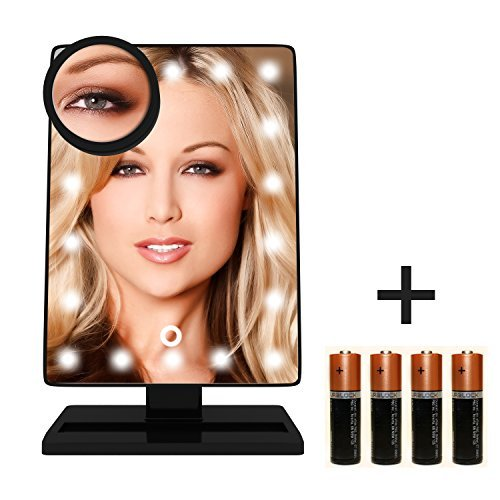 Krasr Touch Screen 20 LED Lighted Makeup Mirror with Removable 10x Magnifying - Mirror Fix Scratch