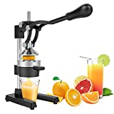 Yaheetech Commercial Metal Orange Lemon Juicer - Heavy Duty Manual Fruit Squeezer with Stainless Steel Funnel Black