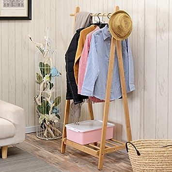 Amazon.com: Solid wood bedroom floor to ceiling wooden clothes rack ...