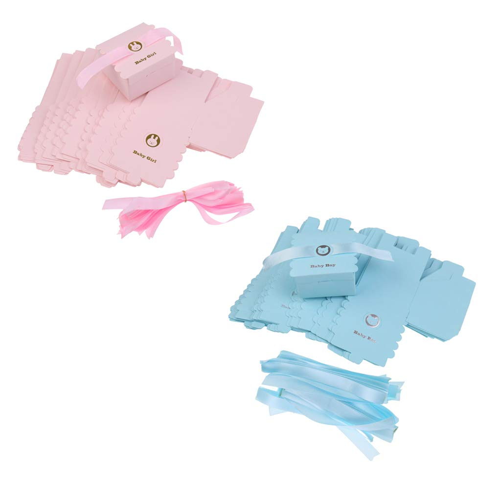 Perfeclan 100x Süß Geschenkkarton Geschenkbox Bonbon Schachtel Kekse Karton mit Dekoband für Babyparty Bastel- & Malmaterialien