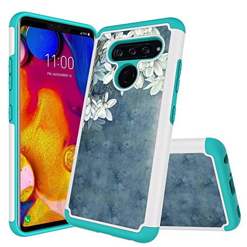 LG V40 ThinQ Case, LG V40 Case, Starhemei [Shock Absorption] Armor Hybrid Double Layer Heavy Silicone Cover Case for LG V40 ThinQ/Storm (Faint Blue)