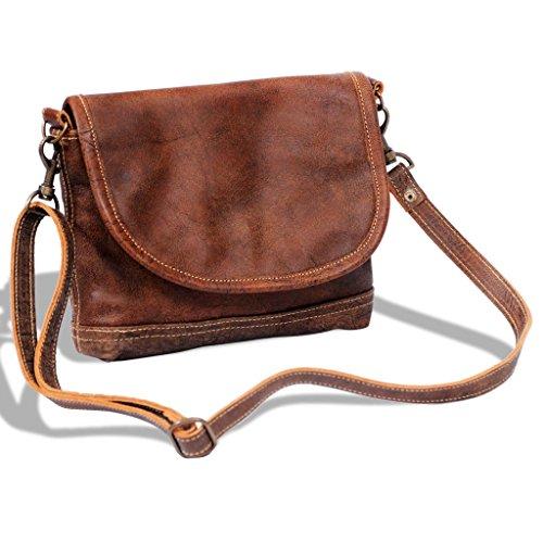Festnight Echtleder Schultertasche Umhängetasche Damentasche mit Klappe Messenger Tasche 26x21cm Braun