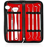 Dental Tools Kit Xpassion Professional Smile Dent Pro Teeth Cleaning Set 8pcs Dental Pick Stainless Steel Dental Hygiene Pack with Tooth Scraper Tartar Dental Scaler Tweezers Mouth Mirror