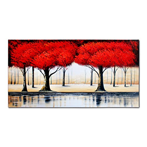 Horse Residential Post Mount (FLY SPRAY 1-Piece 100% Hand Painted Oil Paintings Stretched Framed Ready Hang Woods River Landscape Red Trees Love Modern Abstract Painting Canvas Living Room Bedroom Office Wall Art Home Decoration)