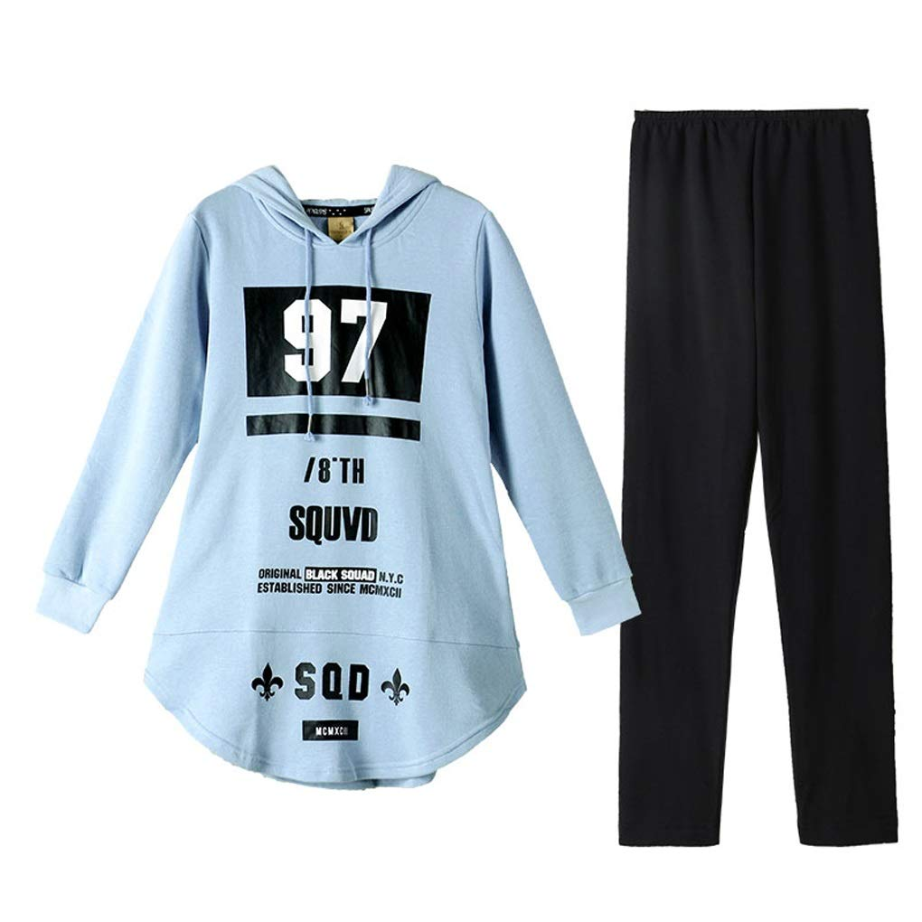 bluee Pajamas Women Spring and Autumn Sweater Style Home Service Cotton Can Wear A Home Suit (color   bluee, Size   L)