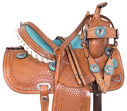 (AceRugs Premium Blue Western Barrel Racing Crystal Show Trail Children Youth Horse Pony Saddle TACK (12))