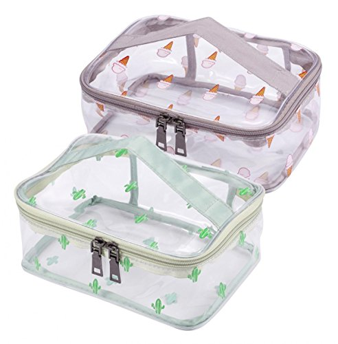 WODISON 2 Packs Travel Clear Makeup Bag Set Tote Cosmetic Train Case Portable Toiletry Pouch with Handle Large