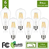 Dimmable Vintage Edison LED Bulb, 8W ST64 Antique LED Bulb Squirrel Cage Filament with 360 Beam Angle, 4000k Natural White 75W Incandescent Replacement, 850 Lumens (Pack of 6)