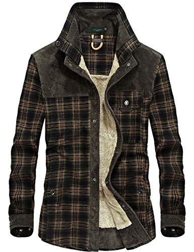 - Flygo Men's Casual Long Sleeve Fleece Sherpa Lined Flannel Plaid Shirt Jacket (Large, Light Green)