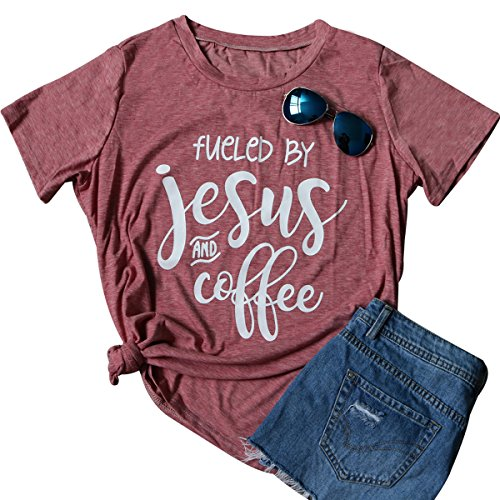 FAYALEQ Women's Letters Printed V-Neck T-Shirt Jesus Loves This Hot Mess Funny Tops Tees Size L (As Shown)