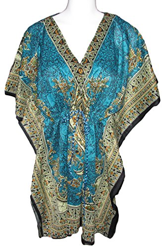 Women's Kaftan Printed African Drawstring Dress Top or Swim Suit Cover up (Teal/Tribal)