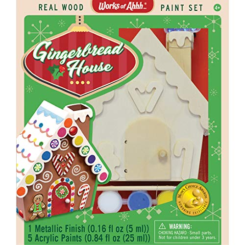 MasterPieces Works of Ahhh Christmas Real Wood Christmas Large Acrylic Paint Kits, Holiday Gingerbread House, Mom's Choice Award, for Ages 4+ (House Toy Gingerbread)