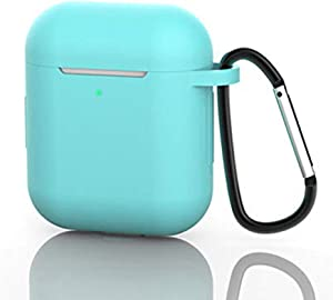 AirPods Case, Silicone Protective Cover Compatible with Apple AirPods 1/2 Shock Resistant AirPods Cover with Carabiner Anti-Lost Strap Anti-Dust Plug Front LED Indicator Visible (Green)