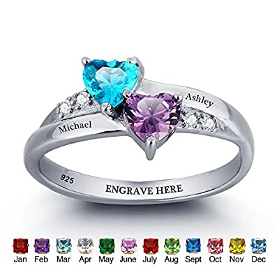 JewelOra Customized & Personalized Simulated Birthstone Rings Free Engraved Promise Heart Rings For Her