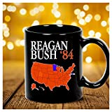 Reagan Bush '84 Retro Logo Red White Blue Election Map Ronald George 1984 84 Red States Electoral College