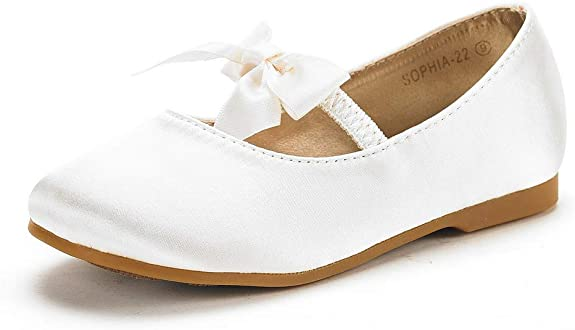 DREAM PAIRS Sophia-22 Adorables Mary Jane Front Bow Elastic Strap Ballerina Flat Toddler New White Size 10 best girls' spring dress shoes