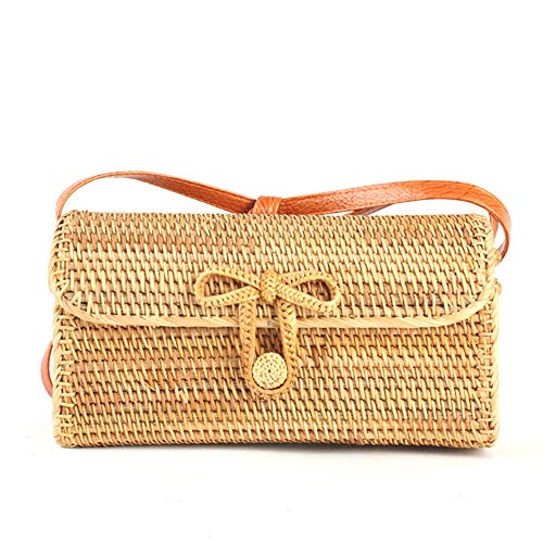 Kbinter Handwoven Rattan Straw Bag for Women Shoulder Leather Button Straps Natural Chic Handmade Boho Bag Bali Purse (1 PC) ()