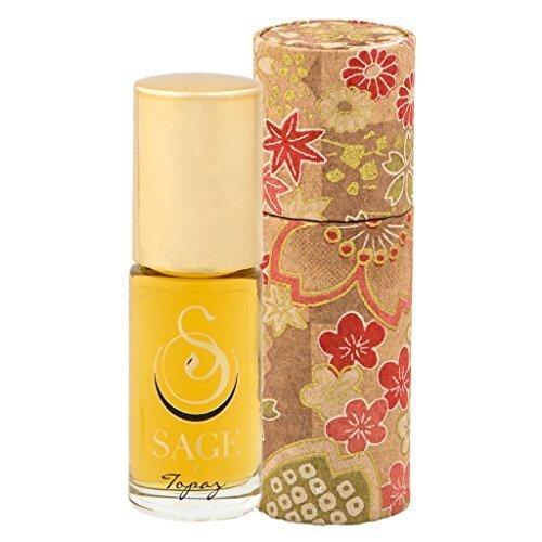 Sage Topaz Roll-on Perfume Oil - Unique Luxury Gift Box - Natural Beauty - Niche - Travel - Aromatherapy - Subtle - Vanilla - Mango - Papya - Rosewood - - Glass Sage Bronze