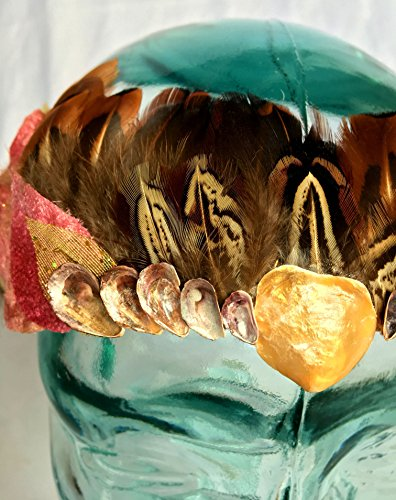 Festival Headdress with Seashells, Woodland Crown, Mermaid Crown, Feather Crown, Seashell Crown, Mermaid Headband, Mermaid Costume, Festival - Brown Chelsie
