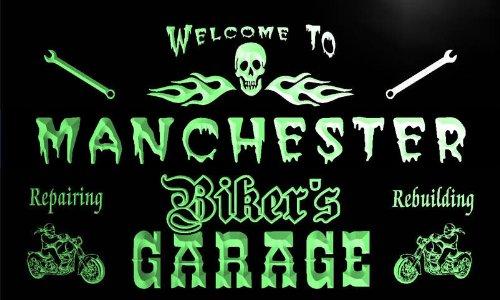 qu2288-g Manchester Biker's Garage Motorcycle Repair Beer Neon Bar Sign