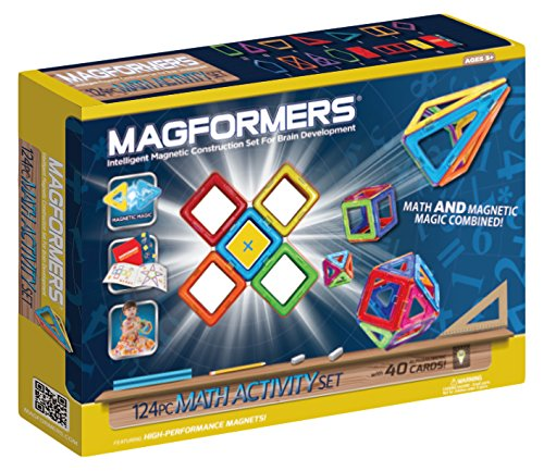 Magformers Math Activity (124 Piece) Set Magnetic    Building      Blocks, Educational  Magnetic    Tiles Kit , Magnetic    Construction  STEM Set