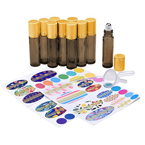 - Essential Oil Bottle Kit - Includes: 10x Amber Brown Essential Oil Bottle (1/3 oz - 10 ml), 1x Tool for Opening/Sealing Bottles, 78x Label (4 Sizes), 1x Mini Dropper + 1x Mini Funnel for Easy Filling