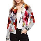 InterestPrint Summer Blossoms Flowers Watercolor Floral Women's Casual Jacket Coat L