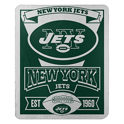 The Northwest Company NFL New York Jets Marque Printed Fleece Throw, 50-inch by 60-inch, Green ()