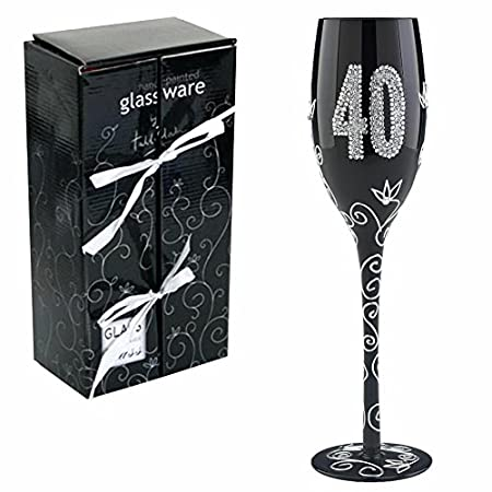 Boxer - Copa para espumoso con diseño de 40 cumpleaños, color negro