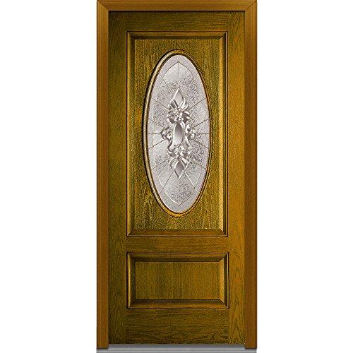 "UPC 769001012350, National Door Company Z022065R Fiberglass Heirloom Master Decorative Glass In-Swing Entry Door, Right Hand, Oak Prehung, 42433 Oval Lite, 1-Panel, 36"" x 80"""