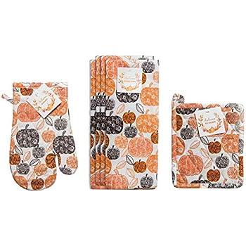 Nidico Seasonal Print Kitchen Towel Bundle Includes Oven Mitt Pot Holder and 4 Towels (Pumpkin)