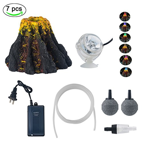 Yuxier Aquarium Volcano Ornament Kits with 7 Colour LED Spotlight Air Oxygen Pump Air bubbler Stone for Fish Tank Decorations by Yuxier
