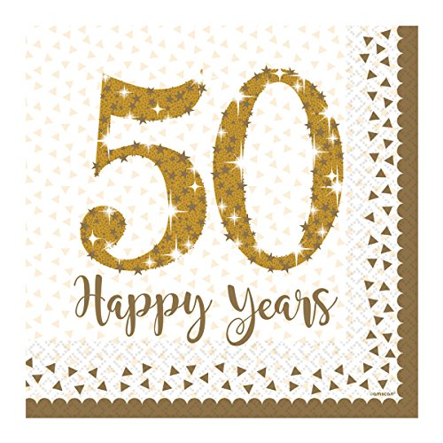 Amscan Sparkling Golden 50th Anniversary Party Lunch Napkins x 16 Amscan International