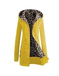 Greenis Autumn Winter Women Cardigan Hooded Jacket Leopard Velvet Lining