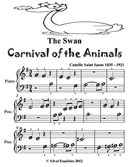 The Swan Carnival of the Animals Beginner Piano Sheet Music Tadpole