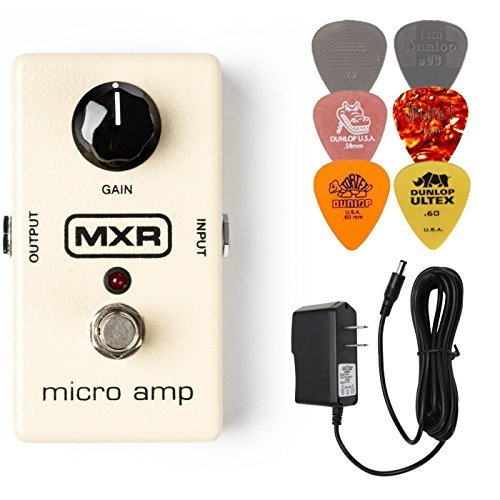 MXR M133 Micro Amp Booster Effects Pedal BUNDLE with AC/DC Adapter Power Supply for 9 Volt DC 1000mA and 6 Assorted Dunlop Guitar Picks …