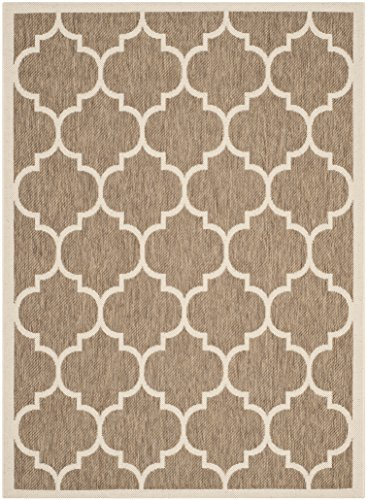 Safavieh Courtyard Collection CY6914-242 Brown and Bone Indoor/ Outdoor Area Rug (4' x 5'7