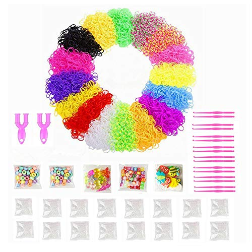 NEFUTRY 9600 Rubber Bands Refill Pack in 16 Colors, 16 Packs S Clips, 16 Pcs Small Hooks, 1 Big Hook, 2 Y Shape Looms and 2 Packs Lovely Charms, 1 Pack ABC Beads, 2 Packs Colorful Beads (16 Colors)