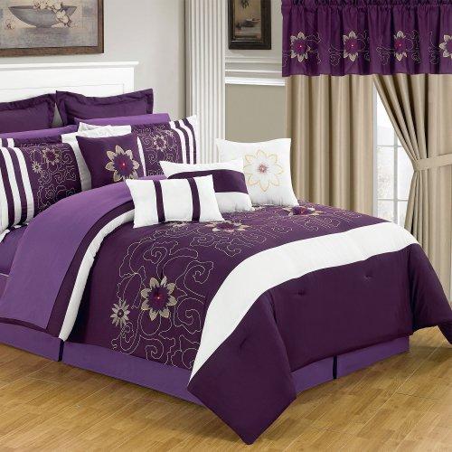 Lavish Home 66-00014-24pc-Q 24-Piece Room-in-a-Bag Amanda Bedroom Set, - Bed Piece Ensemble Queen 24
