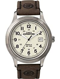 Timex T49870GP Expedition Metal Field Water Resistant Leather Strap (Brown)