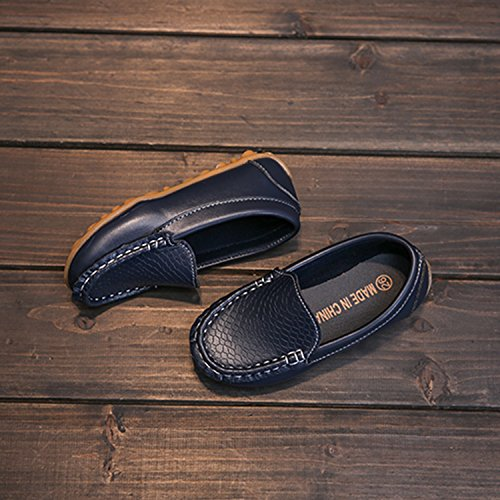 L-RUN Boy's Girl's Leather Loafers and Slip-On Boat-Dress Shoes/Sneakers Navy 2 M US Little Kid by L-RUN (Image #4)
