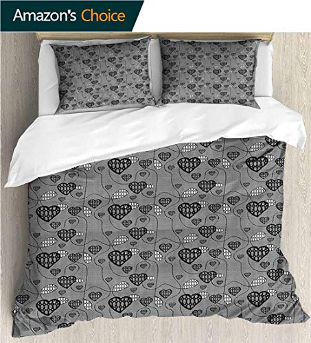 Home Duvet Cover Set,Box Stitched,Soft,Breathable,Hypoallergenic,Fade Resistant Print Quilt Cover Set White Queen Pattern Bedding Collection-Hearts Interlacing Lines Drop Forms (87
