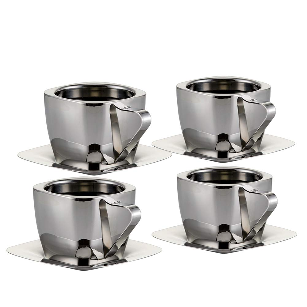 Coffee Cup Set Double Walled Coffee Mugs Stainless Steel Cup & Saucer 3 Ounce (90ml) Set of 4