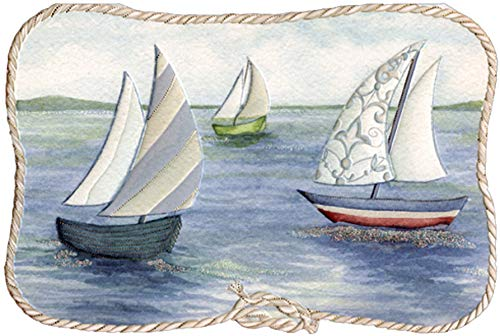 (Pictura Sailboats with Rope Border Sienna Garden Die Cut Birthday Card)