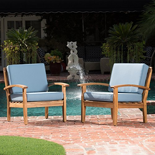 GDF Studio 299099 Preston Outdoor Wooden Club Chairs w/Blue Cushions (Set of 2) - Outdoor Wooden Furniture