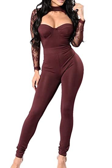 d49963df3d16 Amazon.com  Lady Sexy See Throught Lace Halter Hollow Out Long Club Romper  Jumpsuit Ruby S  Clothing