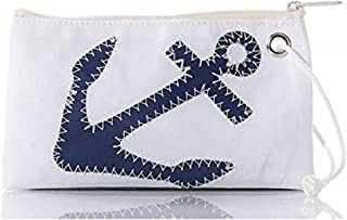"""product image for Sea Bags Navy Anchor Wristlet - Zip Top Wristlet - Recycled Sailcloth Wristlet - Nautical Wristlet - 8""""l x 5""""h"""